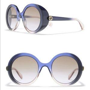 AUTHENTIC GUCCI Women Blue 53mm Round Sunglasses